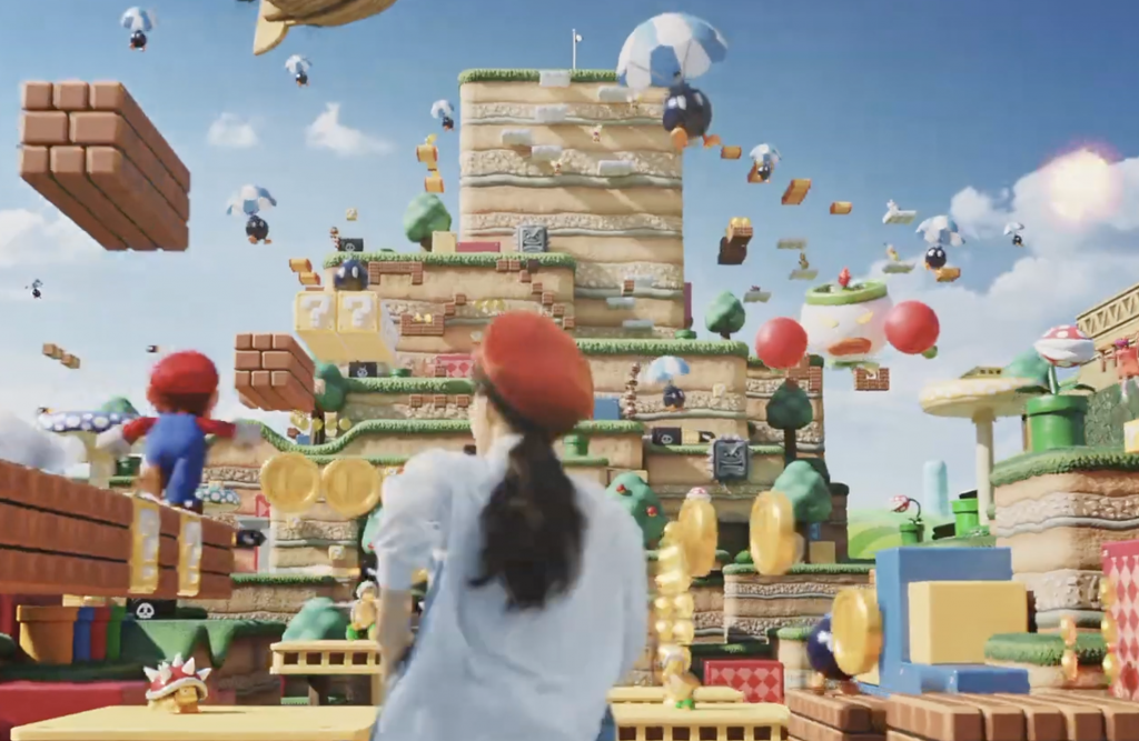 "Super Nintendo World Land Details seen from the ""We Are Born to Play"" Music Video."