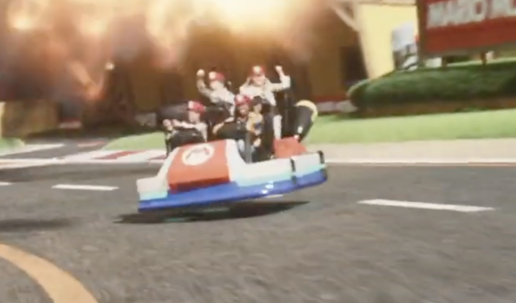 Potential look at Mario Kart ride vehicle located at Universal's Super Nintendo World.