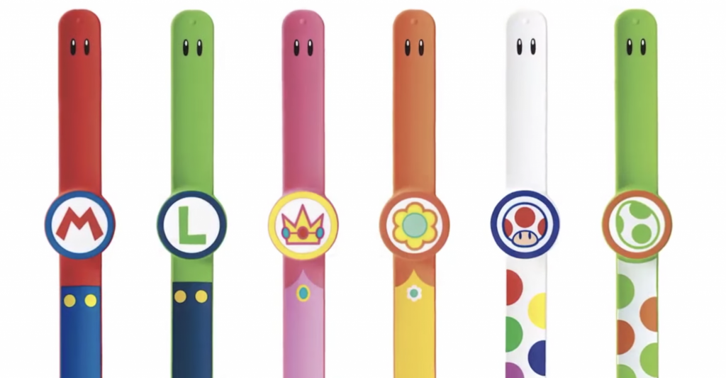 Super Nintendo World Power Up Band options that will be available for purchase at the park.